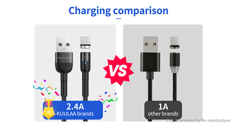 KUULAA Magnetic 3-in-1 8-pin/Micro-USB/USB-C to USB 2.0 Charging Cable (100cm)