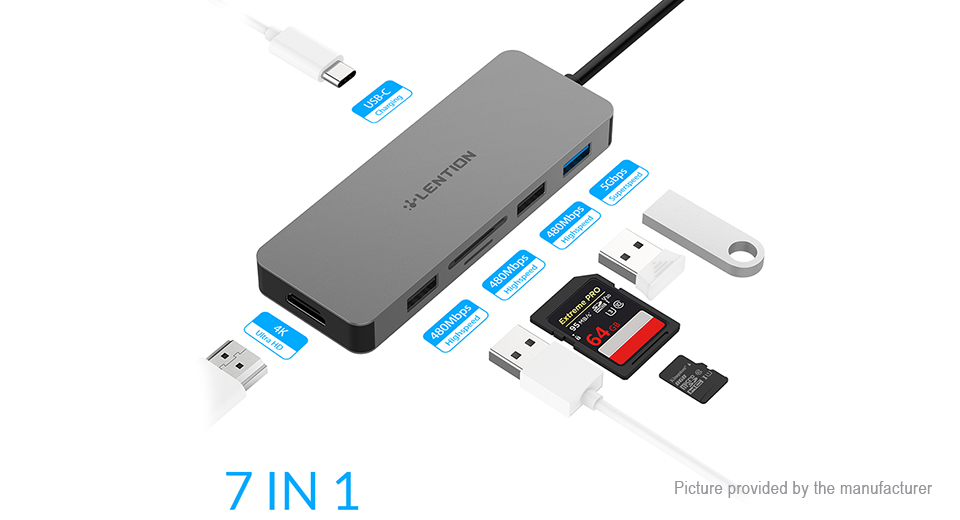 Product Image: authentic-lention-usb-c-to-usb3-0-2-usb2-0-hdmi