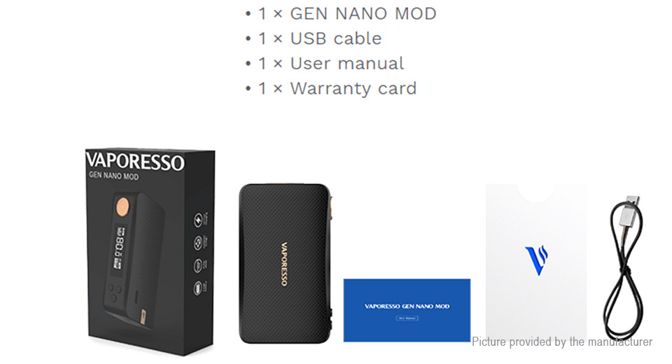 Authentic Vaporesso GEN NANO 80W 2000mAh TC VV VW APV Box Mod