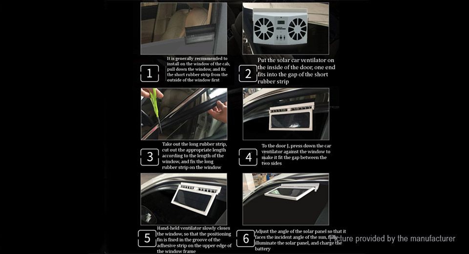 Solar Powered Car Window Air Vent Exhaust Ventilation Cooling Fan