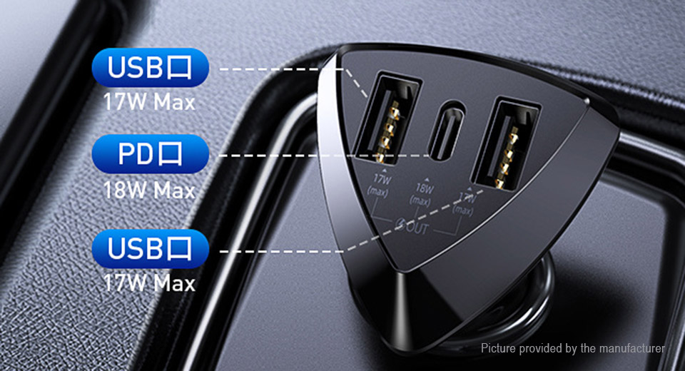 Authentic REMAX RCC214 3-Port Car Cigarette Lighter Charger Power Adapter