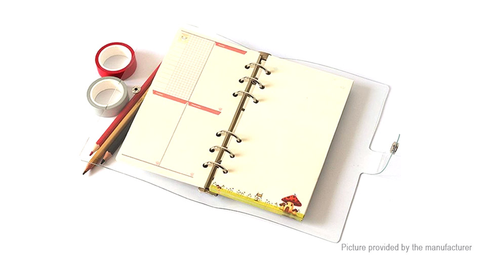 A7 6-Ring Soft PVC Notebook Protector Planner Cover Loose Leaf Binder
