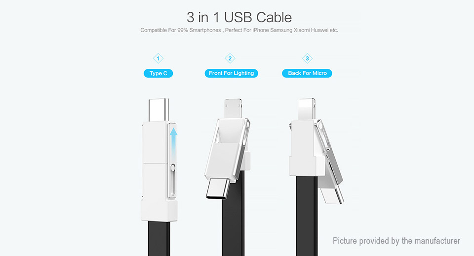 Authentic Floveme Portable 8-pin/Micro-USB/USB-C to USB 2.0 Data & Charging Cable
