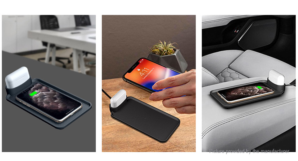2-in-1 Qi Inductive Wireless Charging Pad for iPhone/AirPods