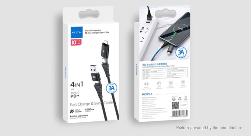 ROCK R12 USB/USB-C to USB-C/8-pin Data & Charging Cable