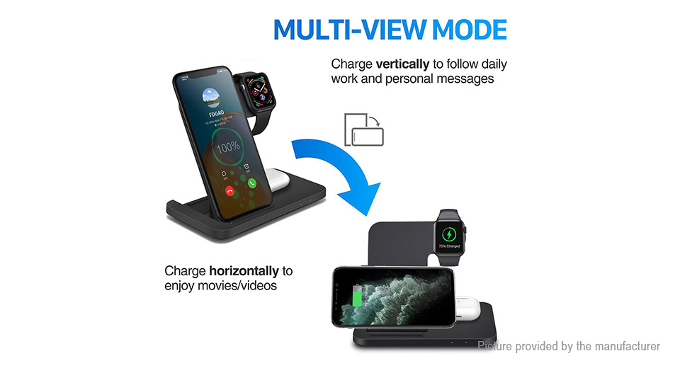 3-in-1 Qi Inductive Wireless Charger for iPhone/Apple Watch/Airpods