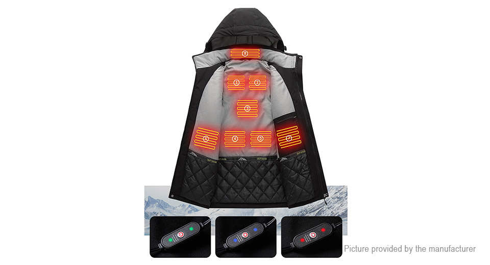 Unisex USB Electric Heated Warm Outdoor Ski Jacket Coat (Size 4XL)