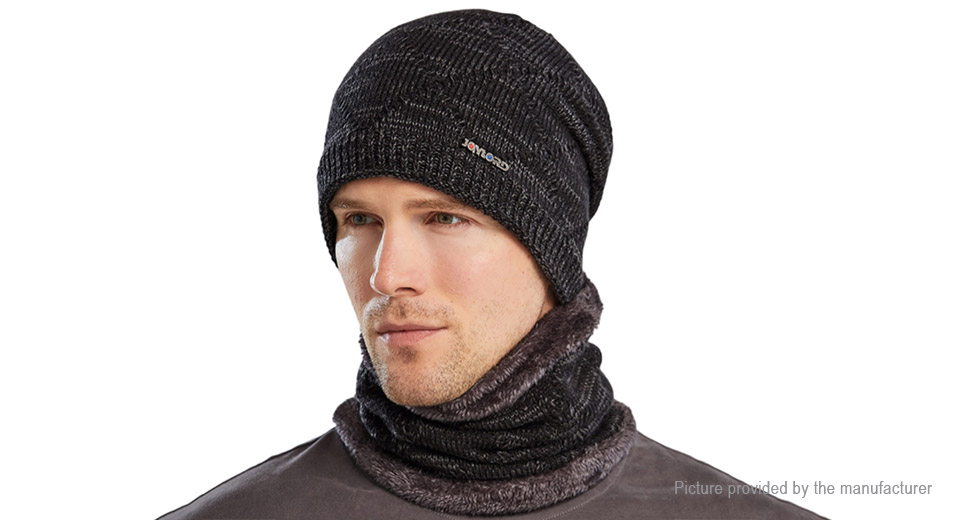 JOYLORD 9121 2-in-1 Men's Outdoor Cycling Winter Warm Knitted Hat w/ Scarf