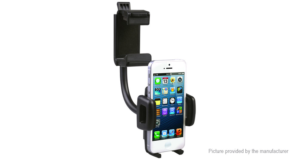 Car Rectangular Rearview Mirror Mount Cell Phone Holder Stand
