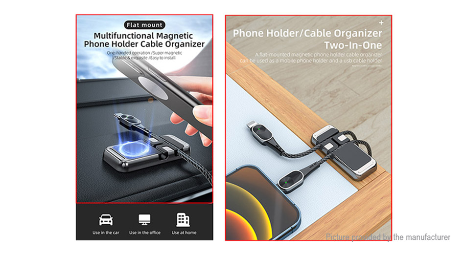 2PCS Essager Multifunctional Magnetic Cable Organizer Cell Phone Holder Stand