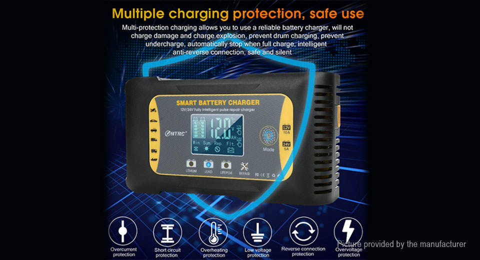 HTRC 12V/24V 10A/5A Fully Intelligent Pulse Repair Battery Charger (US)