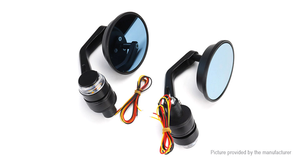 Motorcycle Handlebar End Rearview Side Mirror w/ LED Turn Signal (Pair)