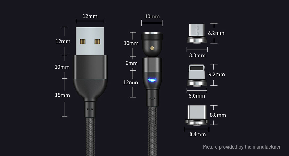 Magnetic 3-in-1 8-pin/Micro-USB/USB-C to USB 2.0 Data & Charging Cable (200cm)