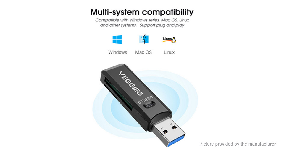 VEGGIEG V-C202 2-in-1 USB 3.0 Adapter microSD/SD Card Reader