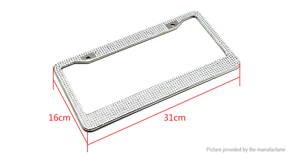 BXG01 Bling Rhinestone Stainless Steel License Plate Frame