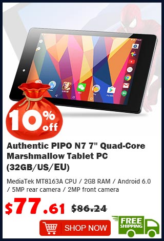 "Authentic PIPO N7 7"" Quad-Core Marshmallow Tablet PC (32GB/US) was $86.24 now $77.61 10% off (free shipping)"
