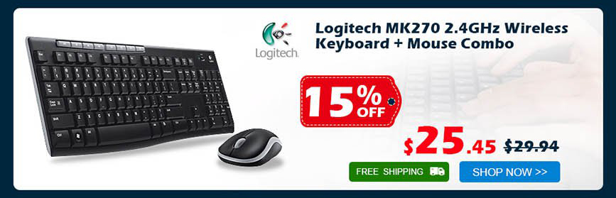 Logitech MK270 2.4GHz Wireless Keyboard + Mouse Combo was $29.94 now $25.45 15% off free shipping
