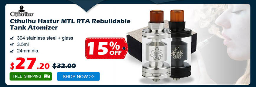 Authentic Cthulhu Hastur MTL RTA Rebuildable Tank Atomizer was $32.00 now $27.20 15% off Free shipping
