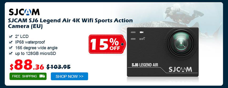 SJCAM SJ6 Legend Air 4K Wifi Sports Action Camera was $103.95 now $88.36 15% off free shipping
