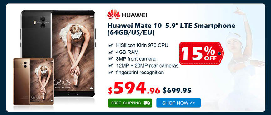 "Huawei Mate 10 ALP-AL00 5.9"" Octa-Core LTE Smartphone (64GB/EU) was $699.95 now $594.96 15% off free shipping"