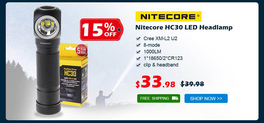 Nitecore HC30 LED Headlamp was $39.98 now $33.98 15% off free shipping
