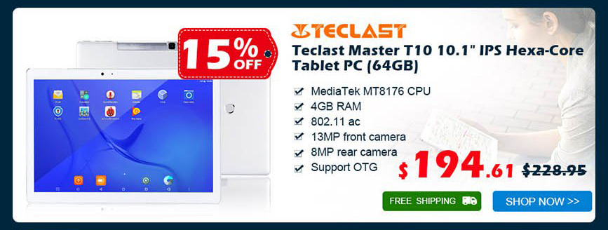 "Teclast Master T10 10.1"" IPS Hexa-Core Tablet PC (64GB) was $228.95 now $194.61 15% off free shipping"