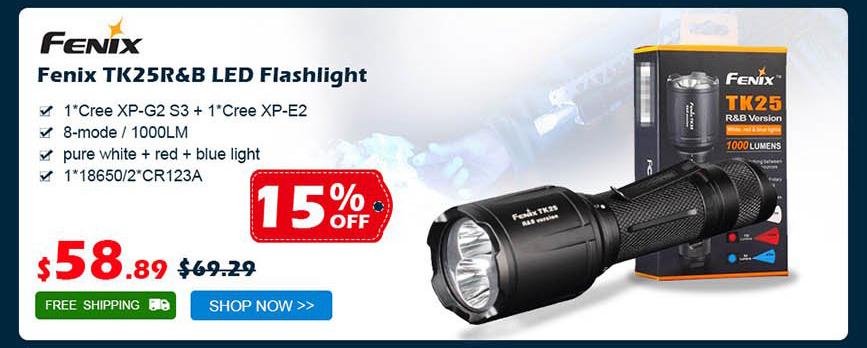 Fenix TK25R&B LED Flashlight was $69.29 now $58.89 15% off free shipping