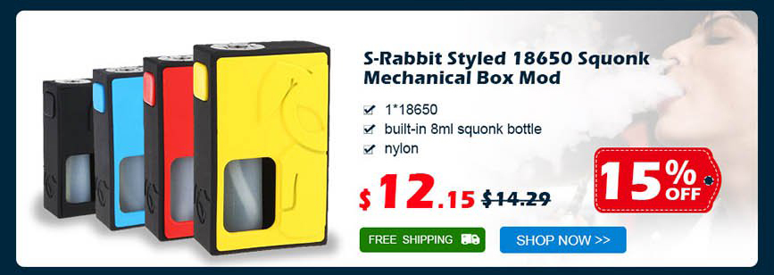 S-Rabbit Styled 18650 Squonk Mechanical Box Mod was $14.29 now $12.15 15% off Free shipping