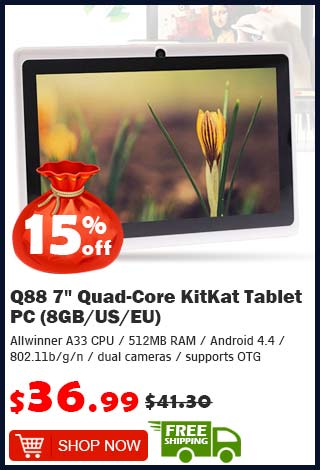 "Q88 7"" Quad-Core KitKat Tablet PC (8GB/US) was $41.30 now $36.99 10% off (free shipping)"