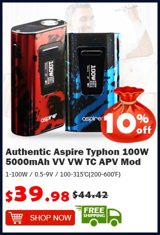 Authentic Aspire Typhon 100W 5000mAh VV VW TC APV Mod was $44.94 now $39.98 10% off (free shipping)