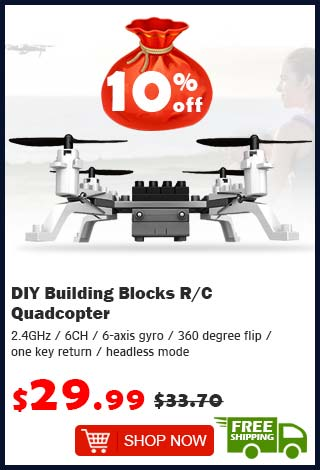 DIY Building Blocks R/C Quadcopter was $33.70 now $29.99 10% off (free shipping)