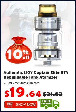 Authentic IJOY Captain Elite RTA Rebuildable Tank Atomizer was $21.82 now $19.64 10% off (free shipping)