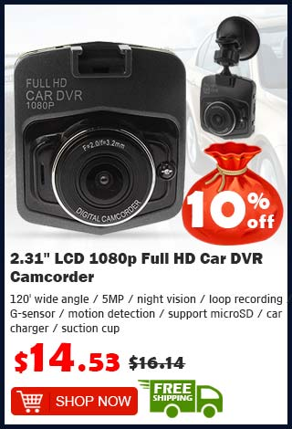 "2.31"" LCD 1080p Full HD Car DVR Camcorder was $16.14 now $14.53 10% off (free shipping)"