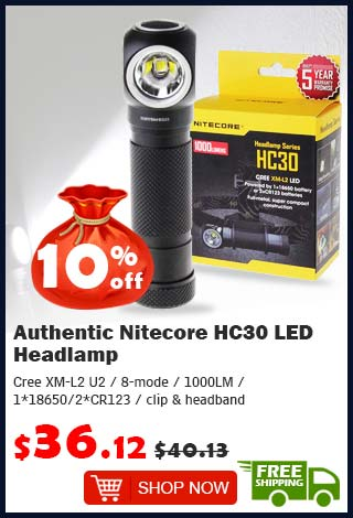Authentic Nitecore HC30 LED Headlamp was $40.13 now $36.12 10% off (free shipping)
