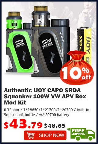 Authentic IJOY CAPO SRDA Squonker 100W VW APV Box Mod Kit was $48.65 now $43.79 10% off (free shipping)