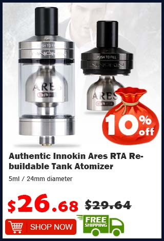 Authentic Innokin Ares RTA Rebuildable Tank Atomizer was $29.64 now $26.68 10% off (free shipping)