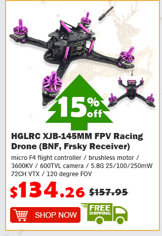 HGLRC XJB-145MM FPV Racing Drone (BNF, Frsky Receiver) was $158.95 now $134.26 15% off free shipping