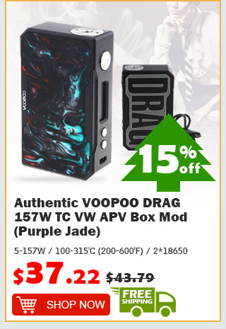 Authentic VOOPOO DRAG 157W TC VW APV Box Mod (Purple Jade) was $43.79 now $37.22 15% off free shipping