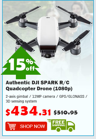 Authentic DJI SPARK R/C Quadcopter Drone (1080p) was $510.95 now $434.31 15% off free shipping