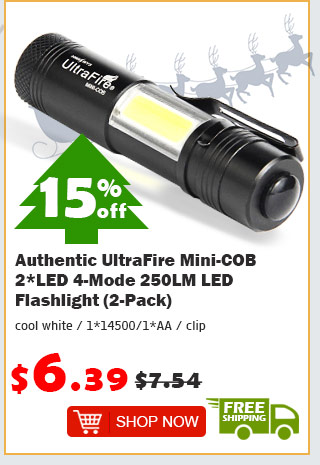 Authentic UltraFire Mini-COB 2*LED 4-Mode 250LM LED Flashlight (2-Pack) was $7.54 now $6.39 15% off free shipping
