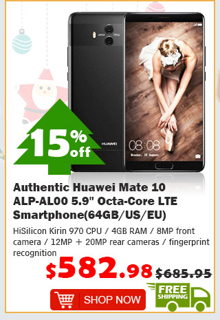 "Authentic Huawei Mate 10 ALP-AL00 5.9"" Octa-Core LTE Smartphone (64GB/EU) was $685.95 now $582.98 15% off free shipping"