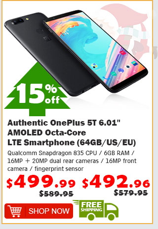 "Authentic OnePlus 5T 6.01"" AMOLED Octa-Core LTE Smartphone (64GB/US) was $589.95 now $499.99 was $579.95 now $492.96 15% off free shipping"