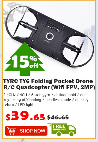 TYRC TY6 Folding Pocket Drone R/C Quadcopter (Wifi FPV, 2MP) was $46.65 now $39.65 15% off free shipping