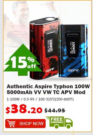 Authentic Aspire Typhon 100W 5000mAh VV VW TC APV Mod was $44.95 now $38.20 15% off free shipping