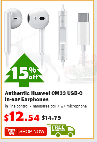 Authentic Huawei CM33 USB-C In-ear Earphones was $14.75 now $12.54 15% off free shipping