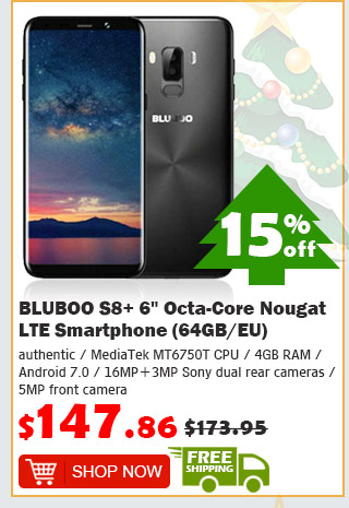 "BLUBOO S8+ 6"" Octa-Core Nougat LTE Smartphone (64GB/EU) was $173.95 now $147.86 15% off free shipping"