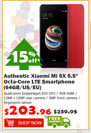"Authentic Xiaomi Mi 5X 5.5"" Octa-Core LTE Smartphone (64GB/US) was $239.95 now $203.96 15% off free shipping"